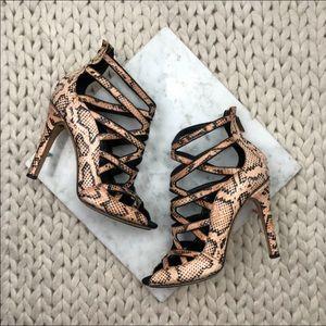 Derek Lam Snakeskin Print Cage Stiletto Heels